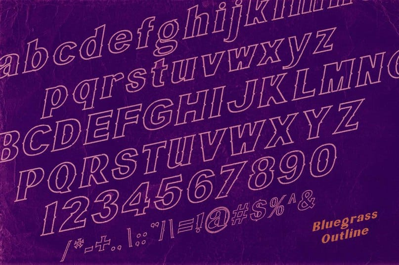 Download Bluegrass OUTLINEff font (typeface)