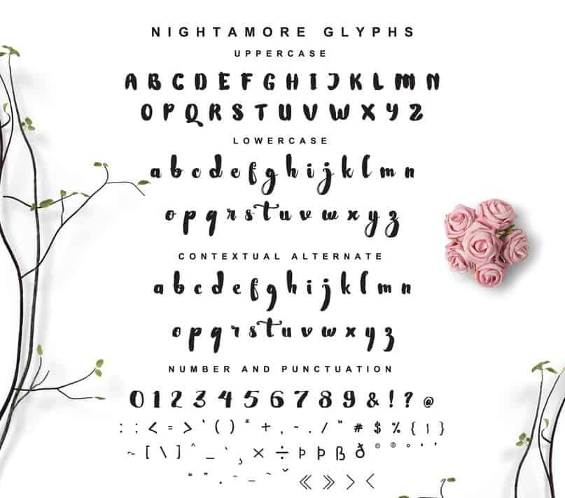 Download Nightamore Brush font (typeface)