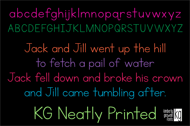 Download KG Neatly Printed font (typeface)