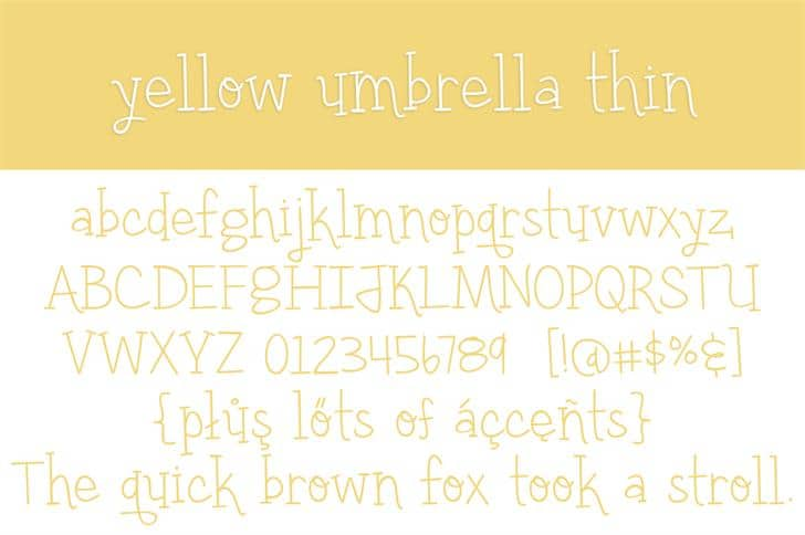 Download Yellow umbrella font (typeface)