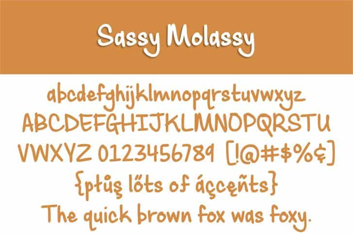 Download Sassy Molassy font (typeface)