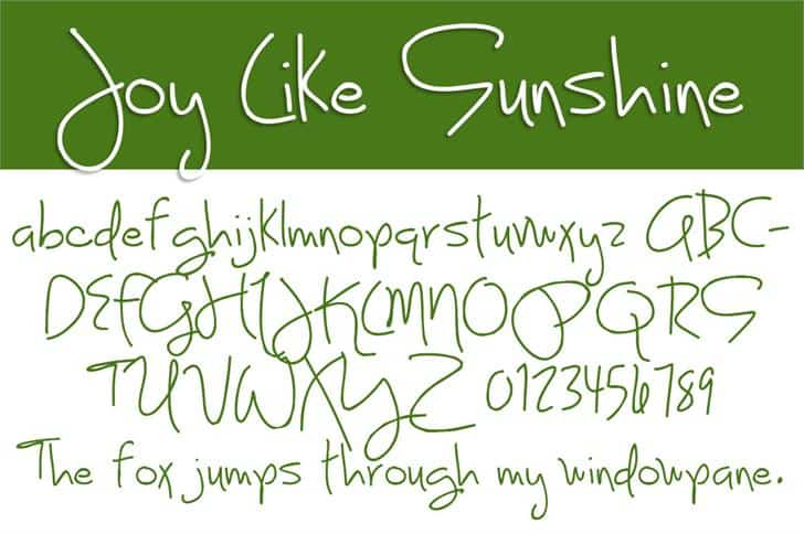 Download Joy Like Sunshine font (typeface)