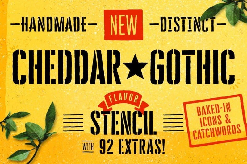 Download Cheddar Gothic Stencil font (typeface)