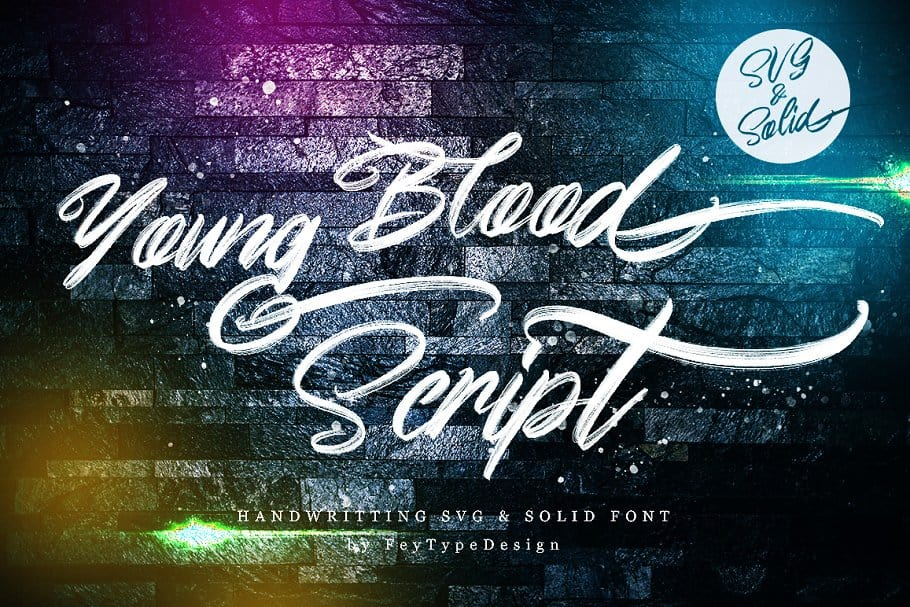 Download Young Blood SVG and Solid Script font (typeface)