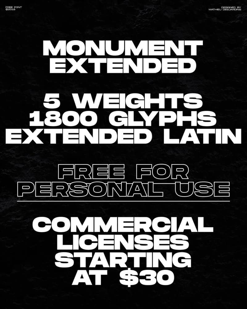 Download Monument Extended font (typeface)
