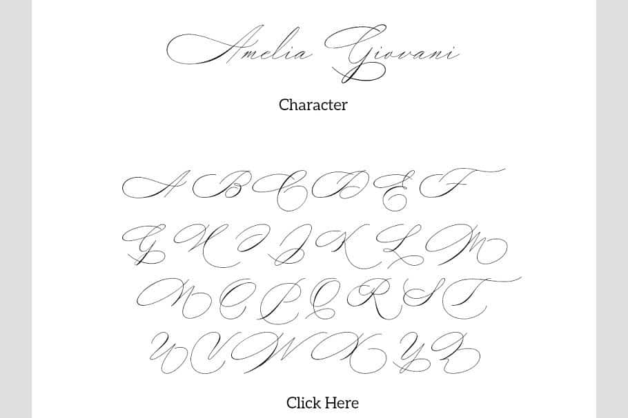Download Amelia Giovani font (typeface)