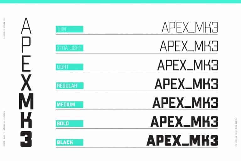 Download Apex Mk3 font (typeface)