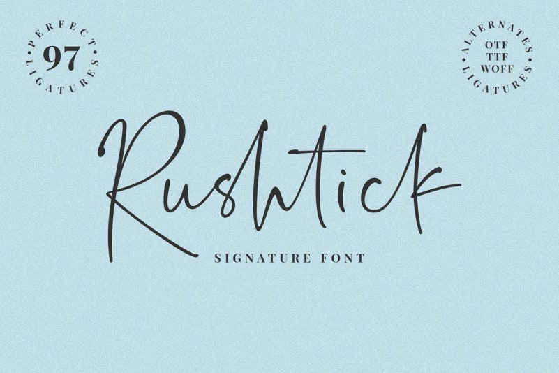 Download Rushtick font (typeface)