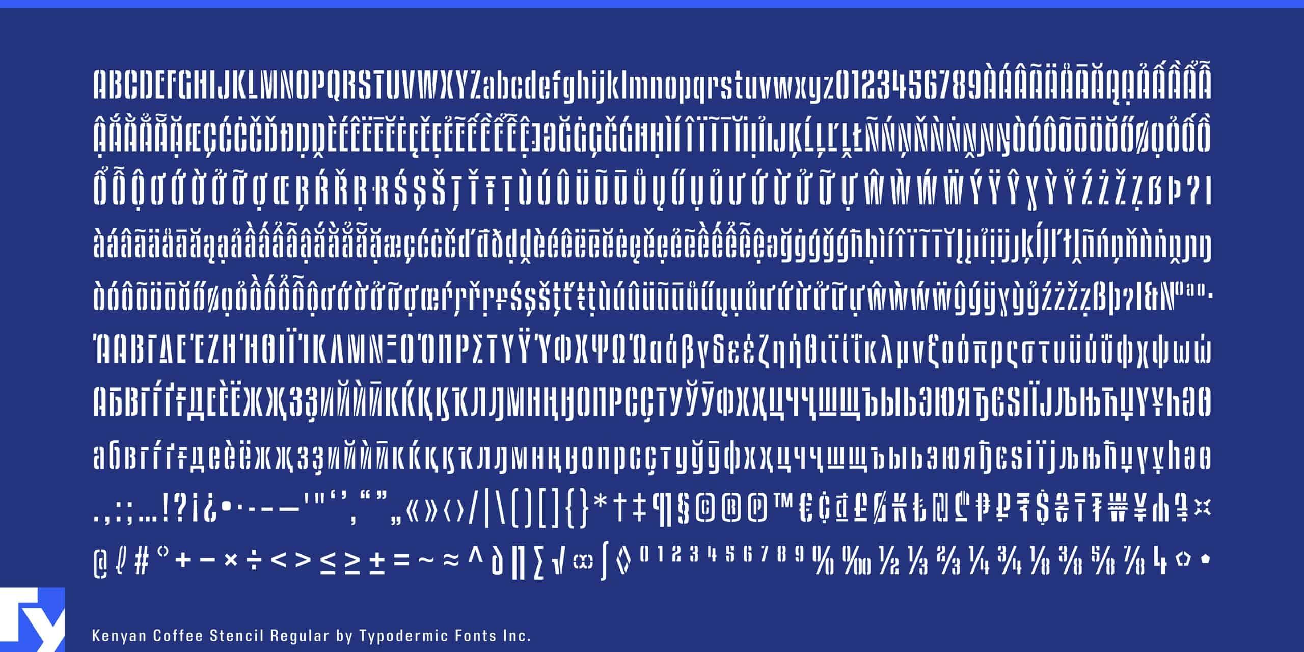 Download Kenyan Coffee Stencil Semi Bold font (typeface)