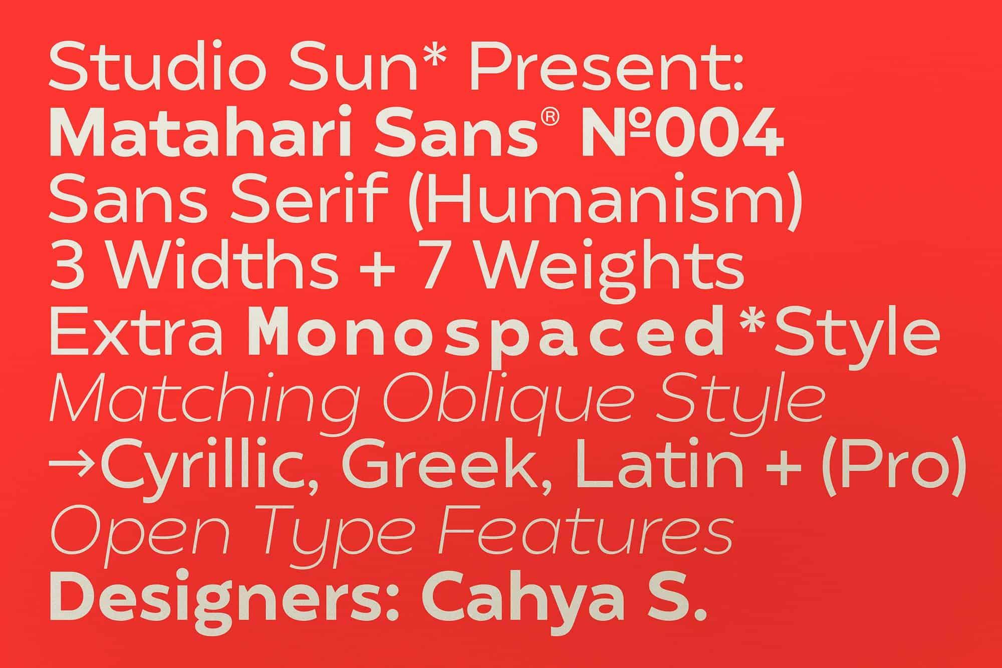 Download Matahari Sans font (typeface)