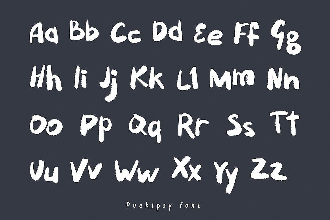 Download Puckipsy Handwritten font (typeface)