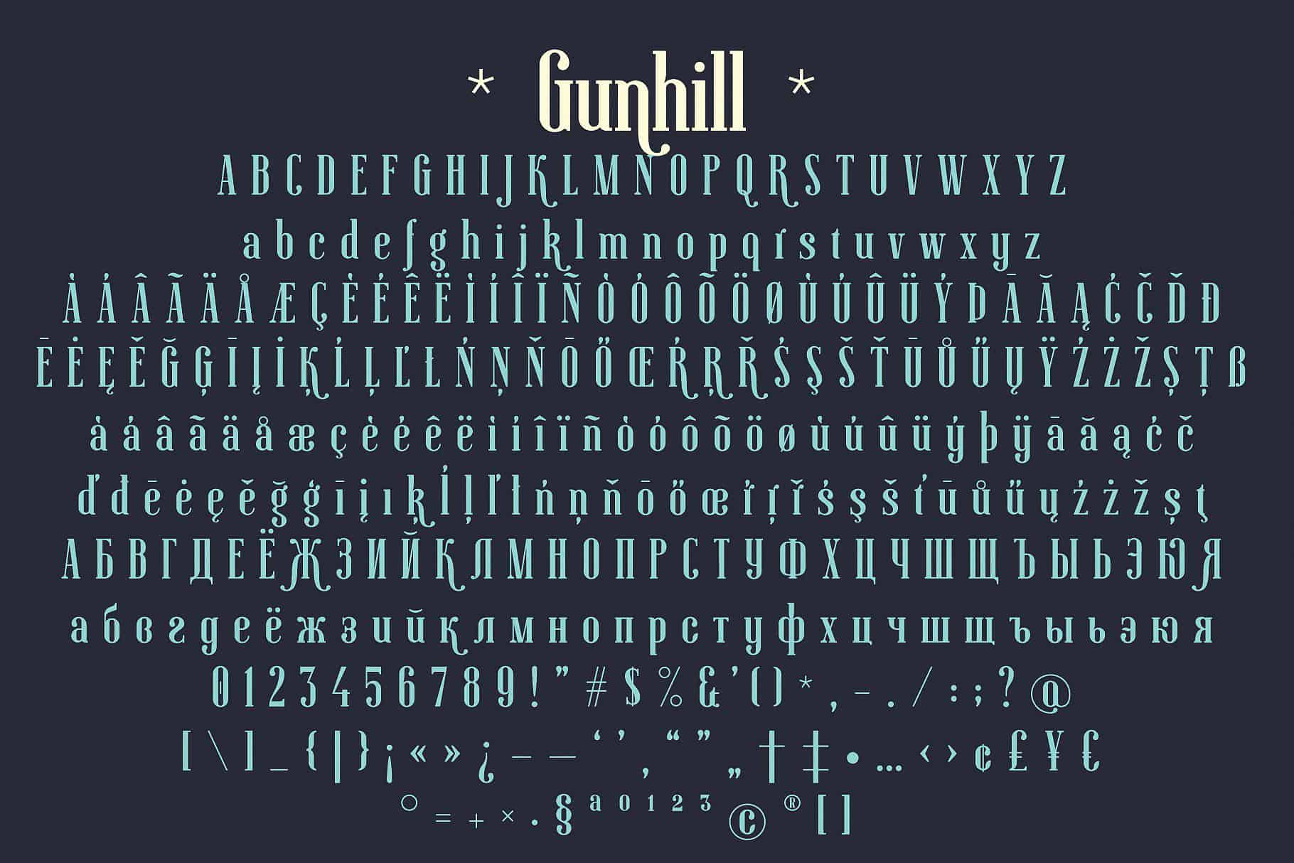 Download Gunhill font (typeface)