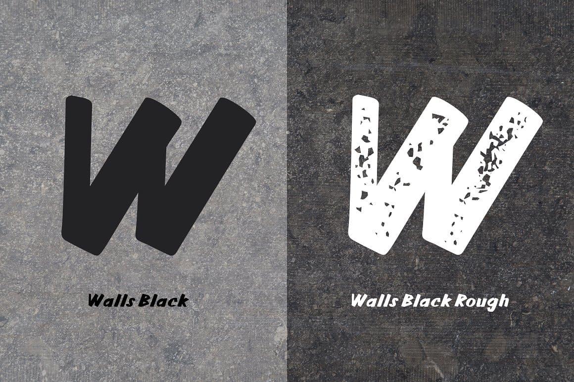 Download Walls Black & Walls Rough Black font (typeface)