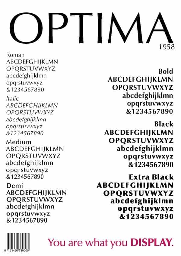 Download Optima     [1954 - Hermann Zapf] font (typeface)