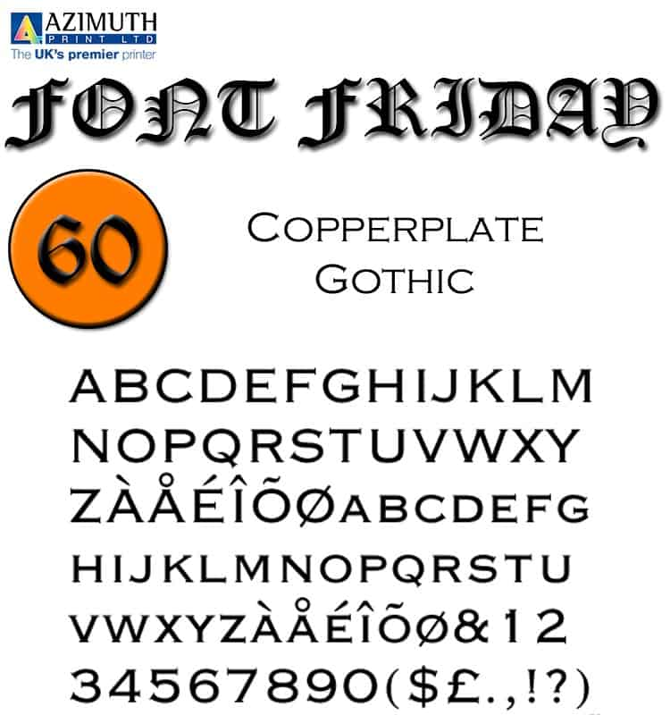 Download Copperplate Gothic     [1901 - Frederic W. Goudy] font (typeface)