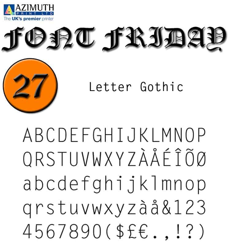 Download Letter Gothic [1956 - Roger Roberson] font (typeface)