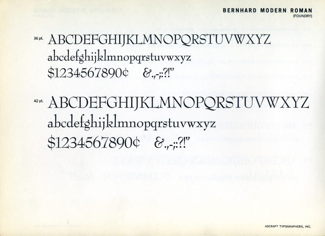 Download Bernhard Modern     [1937 - Lucian Bernhard] font (typeface)