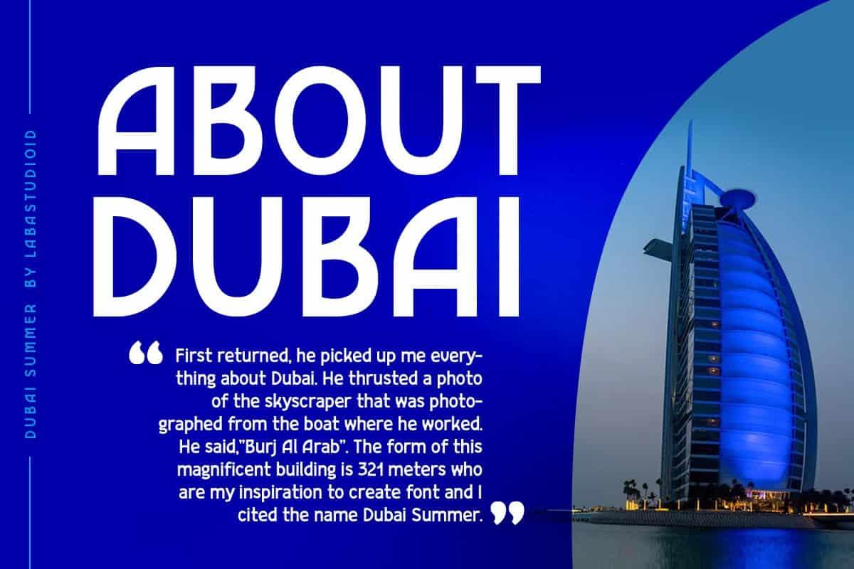 Download Dubai Summer font (typeface)
