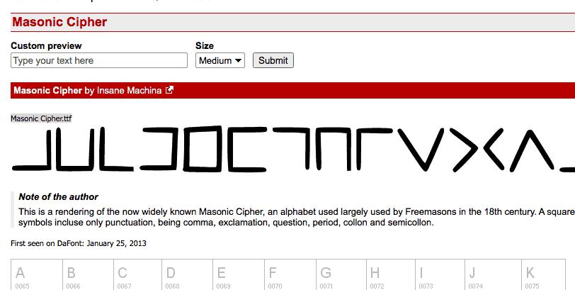 Download Masonic Cipher font (typeface)